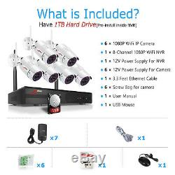 1080P 8CH Wireless Security Camera System 1TB WIFI NVR CCTV Outdoor Home IR-CUTF