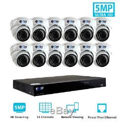 16 Channel 8MP 4K NVR 12 X 5MP 1920P PoE IP Cam Home Dome Security Camera System