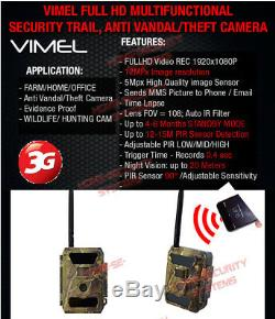 3G Trail Camera Wireless Surveillance Security Cam Scout Waterproof Night Vision