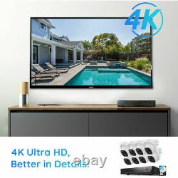 4K Super HD 8MP 16CH POE Security Camera System NVR Kit 8x Dome Cams Waterproof