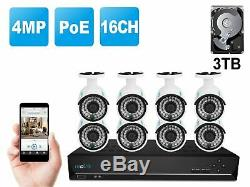 4MP 1440P PoE Security IP Camera System 16CH NVR 3TB HDD 8xB400 Cam RLK16-410B8