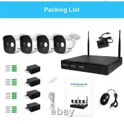 4PCS Wireless Home Security System Camera WIFI Cam 8CH Outdoor NVR CCTV HD IR