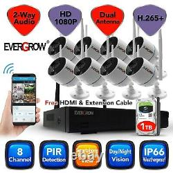 8CH 1080P 2 way Audio Wireless CCTV Outdoor Home Security Camera System DVR Kit
