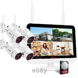 ANRAN 1TB 1080p Wireless Security Camera System CCTV Outdoor 12 Monitor 8CH NVR