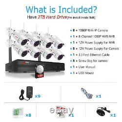 ANRAN 8CH Security Camera System Wireless HD 1080P WIFI NVR Outdoor Home IR 2TB