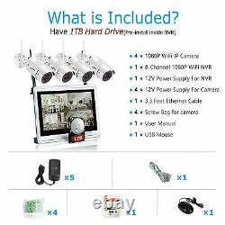 ANRAN HD 1080P Wireless Security Camera System Outdoor 8CH 12LCD NVR 1TB CCTV