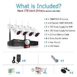 ANRAN Outdoor Wireless Security WIFI Camera System 1080P 8CH 1TB HDD NVR CCTV HD