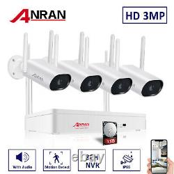 Audio Outdoor Wireless Security WiFi Camera System CCTV 3MP HD NVR With 1TB HDD