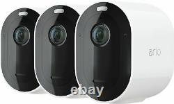 Brand New Arlo Pro 4 Spotlight Indoor/Outdoor 2K Wire-Free Security Cam (3-Pack)