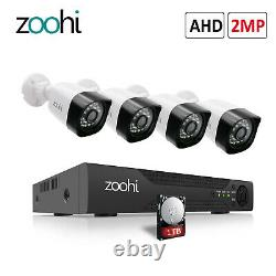 HD 1080P Outdoor Wired Security Camera System IR with 4CH AHD DVR 1TB Hard Drive
