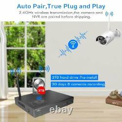 HISEEU 8 Channel HD 1080P Wireless Network IP Security Camera System Outdoor 3TB