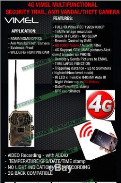Home Security Camera 4G Trail Hunting GSM Cam Wireless IR 3G