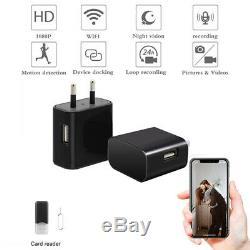 Mini WIFI 4K Wireless Hidden 1080P Camera Wall Charger USB Nanny Cam Security EU