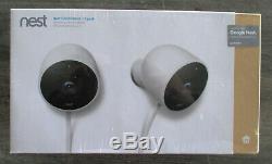 NEST Cam Outdoor Smart Security Camera (2-Pack) White Model NC2400ES / SEALED