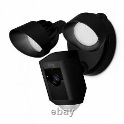 NEW Ring Floodlight Cam, Black, Motion-Activated HD Security Camera WIRED