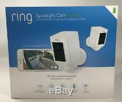 New Sealed Ring Spotlight Cam Battery outdoor security camera 2-Pack (White)