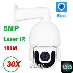 PTZ IP Camera 5MP Super HD 2592x1944 Pan/Tilt 30x Zoom Speed Dome Cam Laser IR