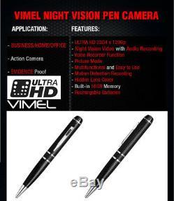 Pen Camera Ultra XHD Video 2K 1296P Body Cam Home Security NO SPY Hidden