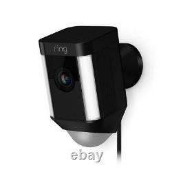 Refurbished Spot Light Cam Wired Outdoor Rectangle Security Camera in Black