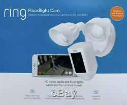 Ring Floodlight Camera Motion-Activated HD Security Cam 2-Way Talk, White, NEW