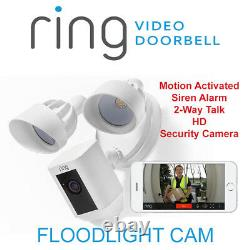 Ring Floodlight Camera Motion-Activated HD Siren Alarm 2-Way Talk Security Cam W