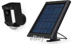 Ring Security Surveillance Camera Spotlight Cam Solar Wireless Battery HD Black