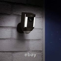 Ring Spotlight Cam Battery with Solar Panel Bundle Deal Camera (2 Pack, Black)