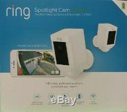 Ring Spotlight Cam Camera Battery White Security Camera 2-Pack NEW SEALED