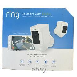 Ring Spotlight Cam Outdoor Security Camera & Spotlight Battery 2 Pack White
