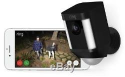 Ring Spotlight Cam Solar Outdoor Security Wi-Fi Surveillance Camera Black 2-pack