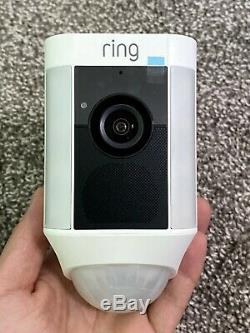 Ring Spotlight Cam Wired Outdoor Security Camera White Used WiFi Wireless Light