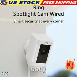 Ring Spotlight Cam Wired Outdoor Security Camera White WiFi WIRED Light Alexa