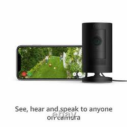 Ring Stick Up Cam Plug-In Black indoor outdoor night vision home security camera