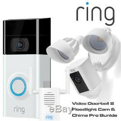 Ring Video Doorbell 2 Security Camera Chime Pro Floodlight Cam Security Package