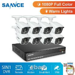 SANNCE True 1080P Colorful Night Vision CCTV 2MP Security Camera System 8CH DVR