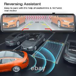 Security Dual Dash Cam 4K GPS 12Mirror Backup Camera Car Rear View DVR Recorder