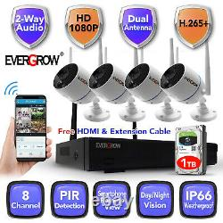 Two way Audio Home Security Camera System Surveillance 8CH CCTV NVR kits HDD