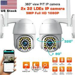 US 2x 2/5MP 1080P IP Camera Outdoor WiFi PTZ CCTV Security Wireless Smart IR Cam