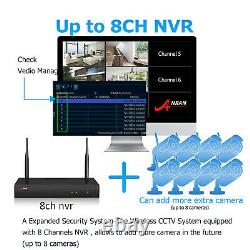Wireless Security Camera System Outdoor Home 5MP 8CH With 2TB Hard Drive WiFi IR