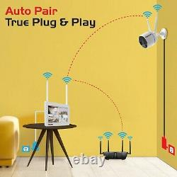 Wireless Security Camera System with Touchscreen Monitor and 2pcs Wifi Cameras